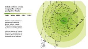 Mapa de Argentina donde se aprecia la ciudad de Santa Fe con distancias a diferentes puntos de interés.
