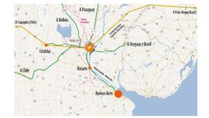 Mapa que muestra las diferentes vías de acceso a Interpuertos